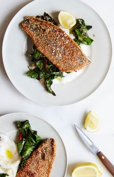 Almond-Crusted Trout with White Grits and Swiss Chard
