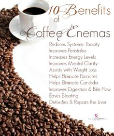 Bring ORGANIC coffee to your colon therapist for an added liver cleanse. The best coffee to use is the one that is not for consumption but specifically for liver and colon cleansing. I bought it online. Just do a quick search. Get that crap out!!!!