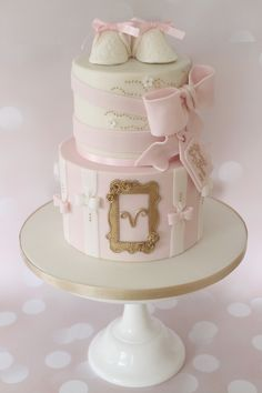 Pink and Gold baby shower cake - full album here - https://www.facebook.com/media/set/?set=a.945220622220470.1073741954.190467561029117&type=3 www.cuppiesncream.co.uk