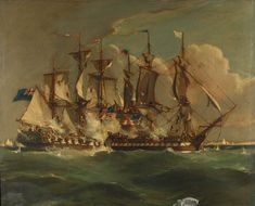 'Action between HMS ''Shannon'' and USS ''Chesapeake'', 1 June 1813'. The painting has been signed by the artist, although the signature is indistinguishable. The painting is dated '1813'.