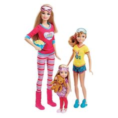 NIB Barbie Pink-Tastic Sister Slumber Party- 3 Doll Set -Barbie, Stacy & Chelsea #Mattel #DollswithClothingAccessories