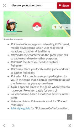 Pokemon go vocabulary