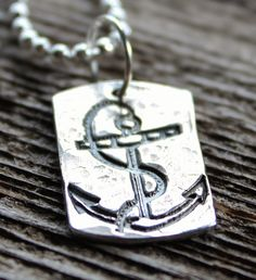 Anchor Precious Silver Unisex Necklace Nautical and Personalized by 2sistershandcrafted