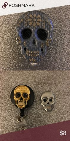 Skull Name Tag Holders, good for men $8 Murse.. Skull Name Tag Holders plain $8 if you want beads or charms can do for $1 extra. Accessories Key & Card Holders