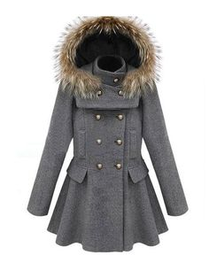 Cool Double-breasted Stand Collar Detachable Hood Slim Woolen Coat