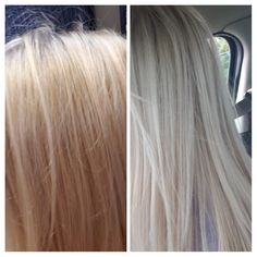 Wella toner used 1 1 2 months after bleaching and toning It has turned brassy on me and purple shampoo wasn t doing anything for me so I toned it again myself and not professionally for 85 to this beautiful ice blonde Toning Blonde Hair, Toner For Blonde Hair, Ice Blonde, Wella Toner, Tone Hair At Home, Wella T18, New Hair Colors, Hair