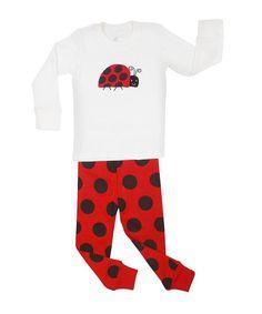 White & Red Ladybug Pajama Set