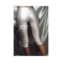 Short White Shiny Spandex Leggings ($28) ❤ liked on Polyvore featuring pants, leggings, black, women's clothing, stretch pants, black wet look leggings, black white leggings, white stretch pants and black leggings
