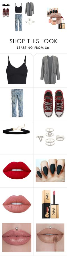 """""""Airport Wear"""" by tothesea420 on Polyvore featuring J.Crew, Converse, Charlotte Russe, Lime Crime and Yves Saint Laurent"""