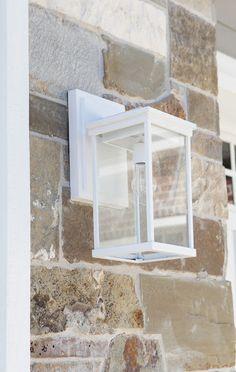 White Modern Craftsman Exterior Light DIY | Brooke Jones Designs