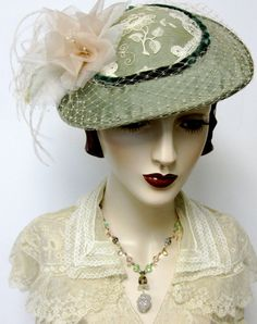 English  High Tea Hat/Sage Green by ThistleCottageStudio on Etsy, $178.00