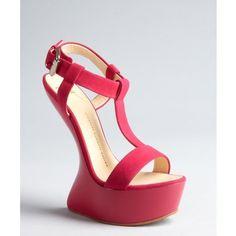 Giuseppe Zanotti Fuchsia suede t-strap wedge heels