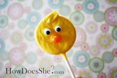 Easter duckie cookie pops