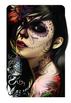 Day of the dead woman portrait Day Of The Dead Artwork, Day Of The Dead Mask, Day Of The Dead Girl, Day Of The Dead Skull, Day Of Dead, Skull Girl Tattoo, Sugar Skull Tattoos, Tattoo Girls, Sugar Skull Girl
