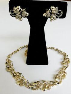 Vintage Coro Acorn Choker Necklace Clip Earrings Set Gold Tone Plated #Coro