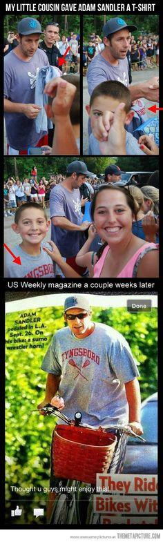 So this kid gave Adam Sandler a t-shirt…