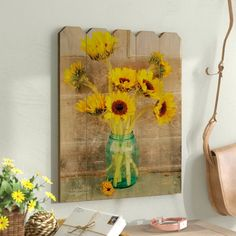 August Grove 'Country Sunflowers' - Unframed Graphic Art Print on Wood Size: H x W Sunflower Themed Kitchen, Sunflower Bathroom, Sunflower Room, Sunflower Wall Decor, Sunflower Crafts, Sunflower Design, Sunflower Fields, Yellow Bathroom Decor, Yellow Kitchen Decor