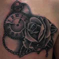 Tattoo Designs Roses And Clock
