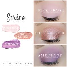 Lidschatten-Trio mit SeneGence ShadowSense-Farben in Amethyst Shell Glitter und How To Do Eyeshadow, Eyeshadow Looks, Eyeshadow Palette, Eyeshadows, Lipsticks, Senegence Makeup, Senegence Products, Look Rose, Shadow Sense