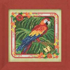 Parrot Cross Stitch Kit Mill Hill 2014 Buttons & Beads Spring - $10.99