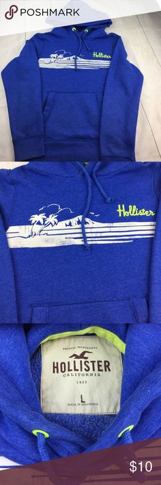 Men's Hollister hoodie sweatshirt size large Wonderful used condition, has natural distressed style. More of a fitted fit hoodie then loose and baggy. Smoke free environment. Please view my pictures as they are part of my description. Ask any questions as I respond quickly. Hollister Sweaters