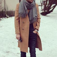 the last of winter // menswear, mens style, fashion, camel coat, scarf, topcoat, overcoat, streetwear