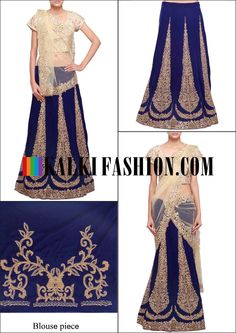 Get this beautiful lehenga here: http://www.kalkifashion.com/unstitched-lehenga-in-navy-blue-adorn-in-stone-and-kundan-embroidery-only-on-kalki.html Free shipping worldwide.