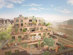 Competition Zollstrasse 3rd place, Zurich (CH) by HDPF Architects in Zurich - Exterior render Paris Skyline, Dolores Park, Tropical, Building, Travel, Architecture, House Building, New Construction, Projects