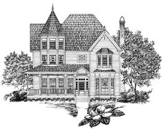Queen Anne Style 2 story 3 bedrooms(s) House Plan with 2243 total square feet and 2 Full Bathroom(s) from Dream Home Source House Plans Victorian House Plans, Victorian Design, Victorian Homes, Victorian Fashion, Victorian Era, Dream House Plans, House Floor Plans, Unusual Homes, Architecture