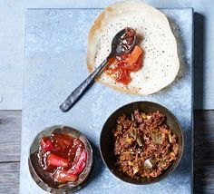 A simple rhubarb chutney that's a great mix of sweet and tart - spoon on generous helpings of this must-try condiment to your favourite curries and hoppers. Dates Bbc Good Food Recipes, Vegetarian Recipes, Cooking Recipes, Healthy Recipes, Date Chutney, Rhubarb Chutney, Cauliflower Curry, Rhubarb Recipes, Chutney Recipes