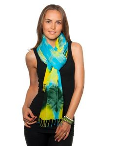Tie-Dye Scarves in bright, beautiful blues, greens and yellow.