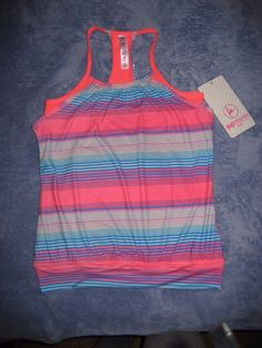 "NEW NWT 90 DEGREE BY REFLEX ""PROVE THEM WRONG"" CORAL STRIPE WORKOUT YOGA TOP #90DEGREEBYREFLEX #ShirtsTops"