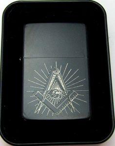 Mason Masonic Masons Engraved Black Cigarette Lighter Tin Case LEN-0170