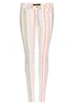 Pastel-colored stripes make this skinny jean feel fresh for summer