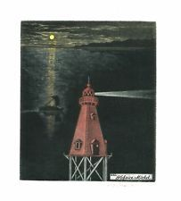 Katsunori Hamanishi, ex libris, etching, gravure, lighthouse, phare, signé