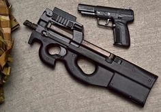 FN Herstal P90 Carbine and a Five-seveN Sidearm. The Five-seveN pistol was developed in conjunction with the FN P90 personal defense weapon and uses the same ammo. (5.7mm) (20 or 30 round mags)