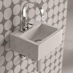 Hidra Ceramica | Rechteckiges Mini Handwaschbecken Mit Hahnloch | Serie  Loft | Aufsatz  Oder Wandmontage | Design Carlo Urbinati