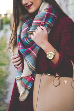 plaid blanket scarf, wine chunky knit, chunky cardigan, fall style, over the knee boots, on sale boots, blanket scarf, tory burch robinson pebbled multi tote // grace wainwright from a southern drawl