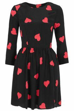 Black Half Sleeve Heart Print Short Dress