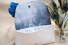 Teal wedding clutch Personalized Bridal by CloverHillBoutique
