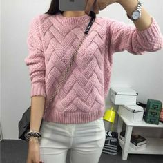 LA MAXPA Pull Femme 2017 Autumn Winter Women Sweaters And Pullovers Plaid Thick Mohair Sweater Loose Loose Women Variegato Hand Knitted Sweaters, Mohair Sweater, Wool Sweaters, Sweater Cardigan, Knitting Sweaters, Handgestrickte Pullover, Pullover Sweaters, Cardigan Fashion, Long Sleeve Sweater