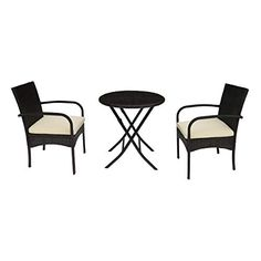 Chocolate Tempered Glass Table Top and Adjustable Reclined Seat Iwicker Patio 3 PCS Steel Padded Folding Chair Set