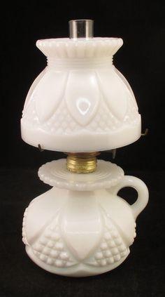 Antique White Milk Glass Miniature Finger Oil Lamp w/ Pontil