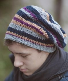 Slouchy hat for men and women in four sizes + pdf. 7fe32e0e63