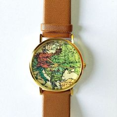 Map Watch Vintage Style Leather Watch Women Watches by FreeForme 10.00 - Marita Fashionable Dresses