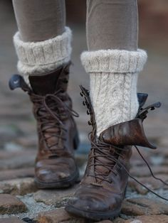 Combat boots and knit socks. Fine but, lace them sucka's up!!!!