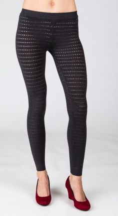 Love Stitch F3173NW Cut-Out Sweater Leggings - Charcoal love. $32.50