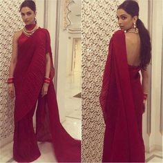 Stylish Blouse Back Designs 2020 Inspire By Deepika Padukone Saree, Deepika In Saree, Deepika Padukone Latest, Deepika Ranveer, Sabyasachi Sarees, Ranveer Singh, Indian Sarees, Indian Designer Outfits, Indian Outfits