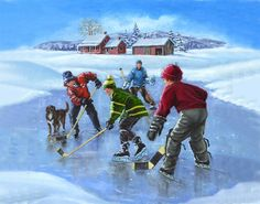 Terrified Dog Is Freezing To Demise In Icy River, Then One Courageous Firefighter Grabs A Rope And… Winter Images, Winter Pictures, Winter Scenery, Winter Theme, Hockey Drawing, Hello Winter, Winter Painting, Canadian Art, Snowy Day