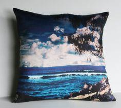 decorative cushion, beach pillow,  BEACH SCENE  organic cotton, cushion cover, pillow, 16x16 cushion 40cm pillow